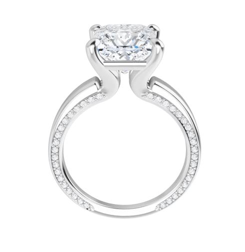 Square Moissanite Solitaire Ring - 2.05tcw - 3.85tcw