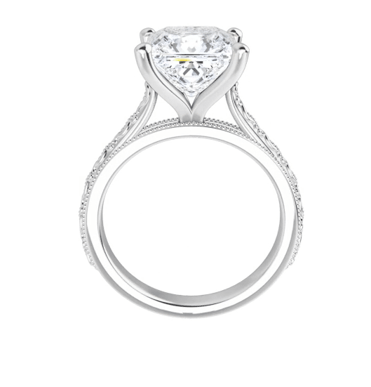 Square Moissanite Solitaire Ring - 2.10tcw - 3.10tcw
