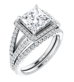 Square Moissanite Split Band Engagement Ring - 2.95tcw - 3.95tcw