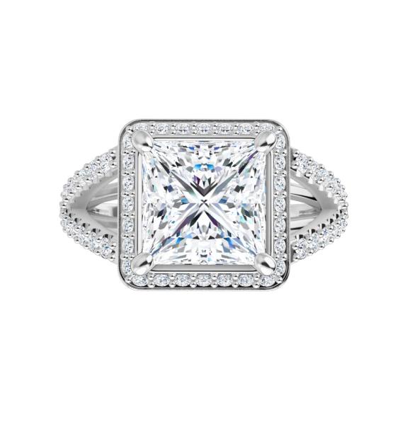 Square Moissanite Split Band Engagement Ring - 2.95tcw - 3.95tcw
