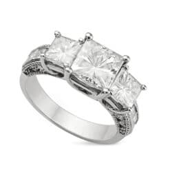 Square Moissanite Three Stone Ring - 4.20tcw