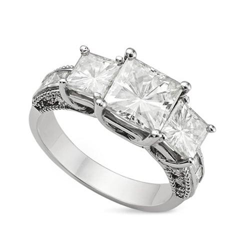Square Moissanite Three Stone Ring - 4.20tcw