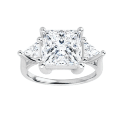 Square & Trillion Moissanite 3 Stone Ring - 2.70tcw - 3.70tcw