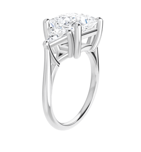 Square & Trillion Moissanite 3 Stone Ring - 2.70tcw - 3.70tcw