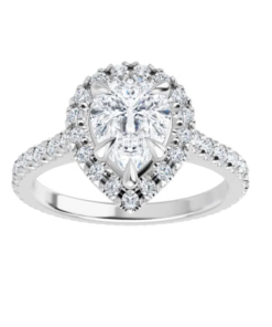 Pear Moissanite Forever One Halo Engagement Ring