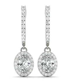 Oval Moissanite Forever One Halo Drop Earrings
