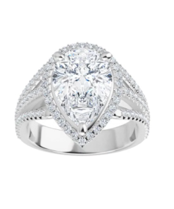 Pear Moissanite Forever One Triple Band Halo Engagement Ring
