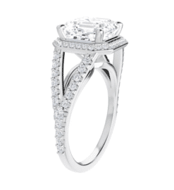 Asscher Moissanite Split Band Halo Engagement Ring - 3.10tcw - 4.00tcw
