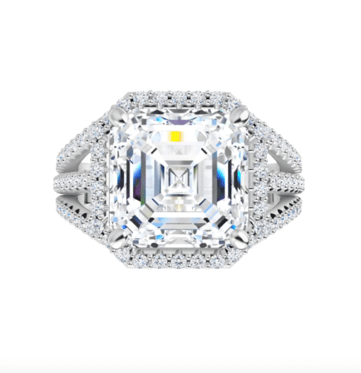 Asscher Moissanite Triple Band Halo Engagement Ring - 3.25tcw - 4.15tcw