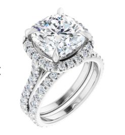 Cushion Moissanite  Halo Eternity Engagement Ring - 2.10tcw - 6.00 tcw