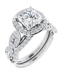 Cushion Moissanite Halo Flower Engagement Ring - 1.60tcw - 2.90tcw