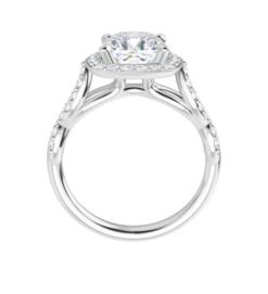 Cushion Moissanite Halo Flower Engagement Ring - 1.60tcw - 2.90tcw