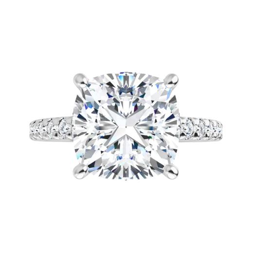 Cushion Moissanite Hidden Halo Engagement Ring - 2.70tcw - 6.00tcw