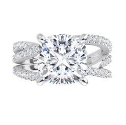 Cushion Moissanite Multi Bands Engagement Ring - 1.85tcw -5.77tcw