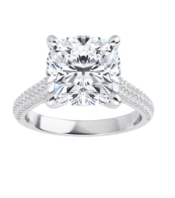 Cushion Moissanite Side Stones Engagement Ring - 2.19tcw - 6.11tcw