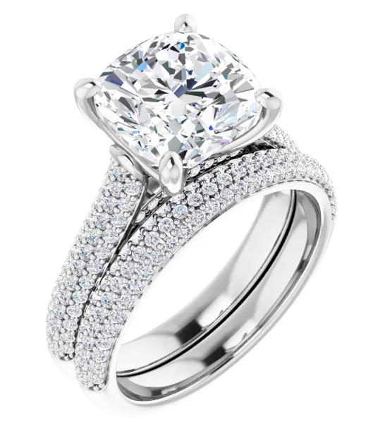 Cushion Moissanite Side Stones Engagement Ring - 2.19tcw - 6.11tcw
