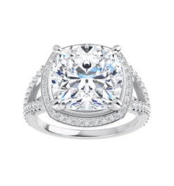 Cushion Moissanite Split Band Halo Engagement Ring - 2.55tcw - 5.85tcw