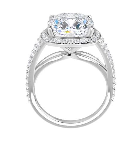 Cushion Moissanite Split Band Halo Engagement Ring - 2.55tcw - 5.85tcw