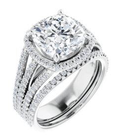 Cushion Moissanite Triple Band Halo Engagement Ring - 2.70tcw - 6.00tcw