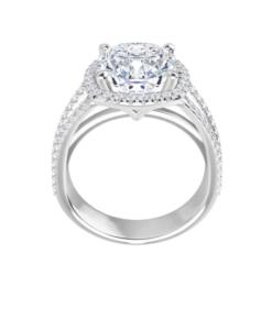 Cushion Moissanite Triple Band Halo Engagement Ring - 2.70tcw - 6.00tcw