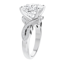 Cushion Moissanite  Twisted Band Engagement Ring - 2.25tcw - 5.55tcw