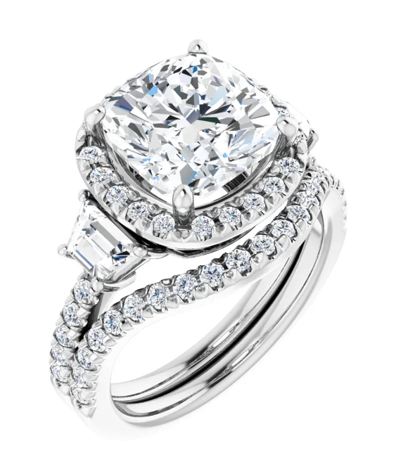 Cushion & Trapezoide Moissanite  Halo Engagement Ring - 2.70tcw - 6.00tcw