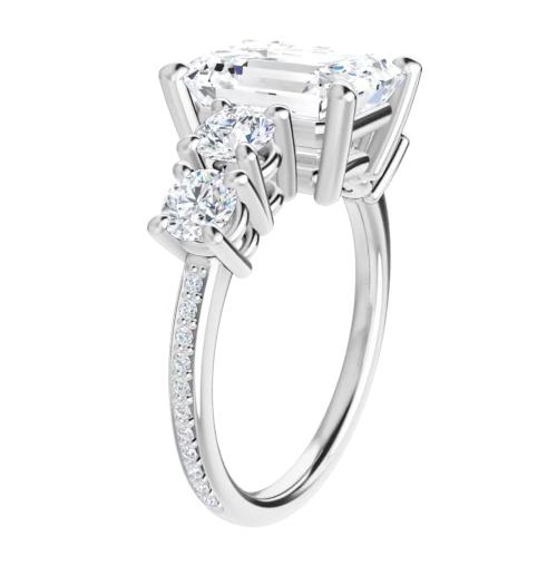 Emerald Moissanite  5 Stone Engagement Ring - 2.75tcw - 5.95tcw