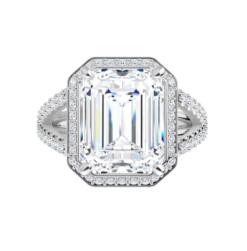 Emerald Moissanite Halo Split Band Engagement Ring - 2.60tcw - 5.80tcw