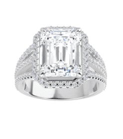 Emerald Moissanite Halo Triple Band Engagement Ring - 2.75tcw - 6.02tcw