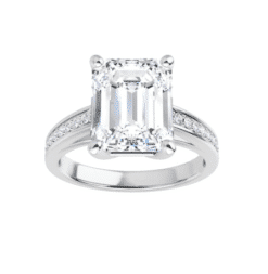 Emerald Moissanite Side Stone Engagement Ring - 2.00tcw - 5.20tcw