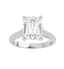 Emerald Moissanite  Solitaire Engagement Ring - 2.65tcw - 5.85tcw