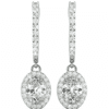 Oval Moissanite Halo Drop Earrings - 3.75tcw
