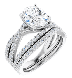Oval Moissanite Multi Bands Micro Pave Engagement Ring - 2.25tcw - 2.85tcw