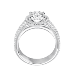 Oval Moissanite Triple Band Halo Engagement Ring - 2.50tcw - 5.20tcw