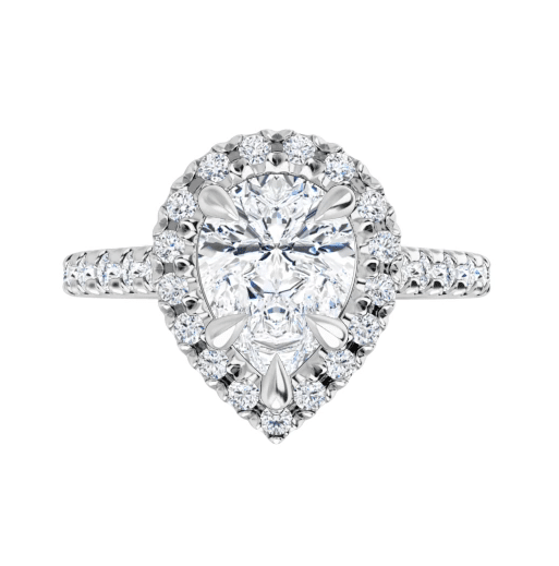 Pear Moissanite Halo Engagement Ring - 2.50tcw - 3.10tcw