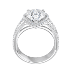 Pear Moissanite Triple Band Halo Engagement Ring - 2.50tcw - 4.60tcw