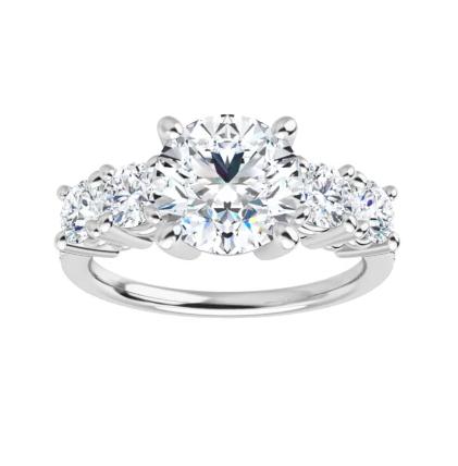Round Moissanite 5 Stone Engagement Ring - 2.00tcw - 4.60tcw