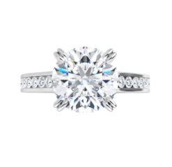 Round Moissanite Channel Band Bezel Engagement Ring - 2.35tcw -6.58tcw