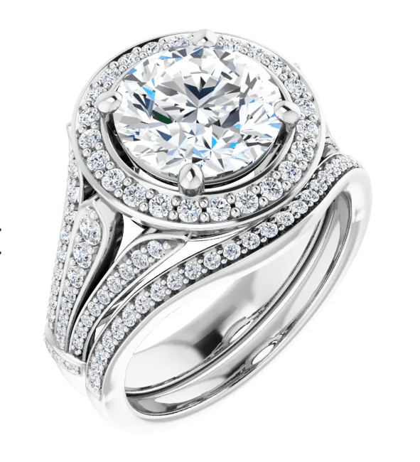 Round Moissanite  Halo Engagement Ring - 2.90tcw - 4.60tcw