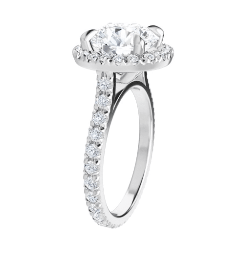 Round Moissanite Halo Eternity Engagement Ring - 2.90tcw - 4.60tcw