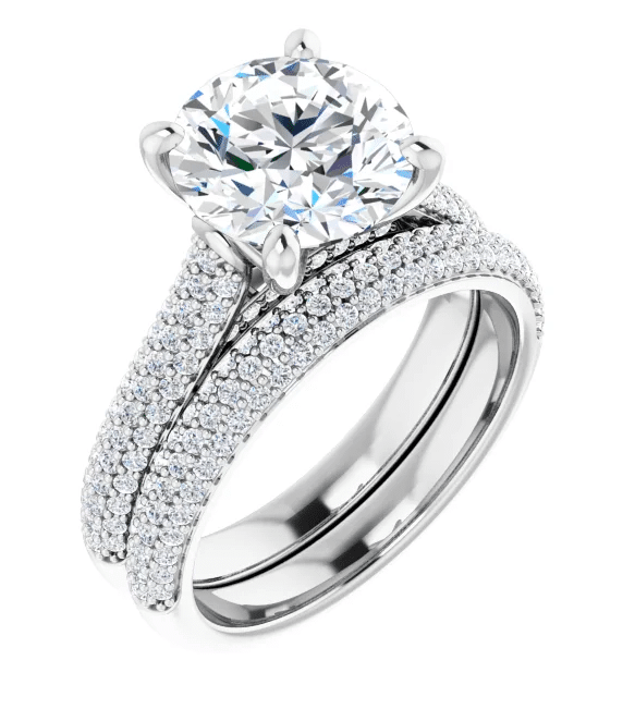 Round Moissanite  Side Stone Engagement Rings - 1.90tcw - 7.03tcw