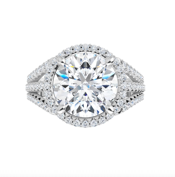 Round Moissanite Triple Band Halo Engagement Ring - 2.90tcw -7.13tcw
