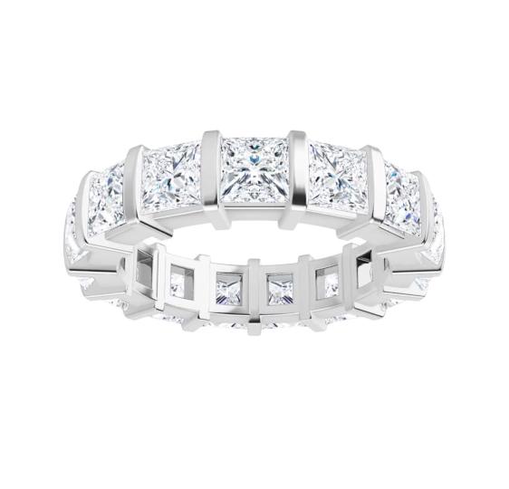 Square  Moissanite Eternity Wedding Band Ring - 6.15tcw