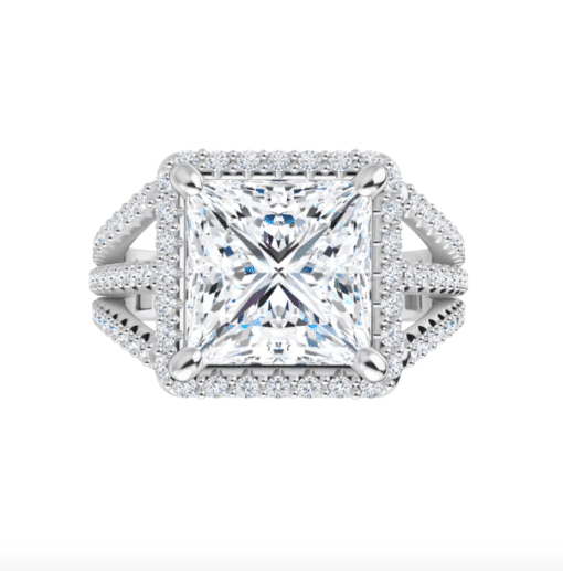 Square Moissanite Triple Band Halo Engagement Ring - 3.10tcw - 4.10tcw