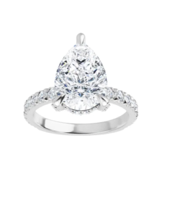 Pear Moissanite Forever One Hidden Halo Pave Engagement Ring