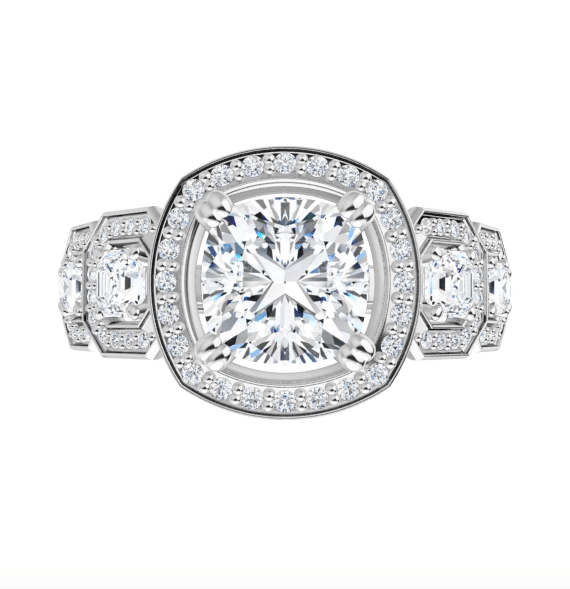 Cushion and Asscher Moissanite Halo Engagement Ring - 2.80tcw - 4.10tcw