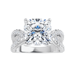 Cushion Moissanite Split Band Engagement Ring - 2.20tcw -5.50tcw