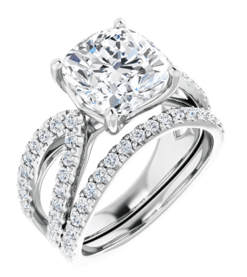 Cushion Moissanite Split Band Engagement Ring - 2.20tcw -5.50tcw