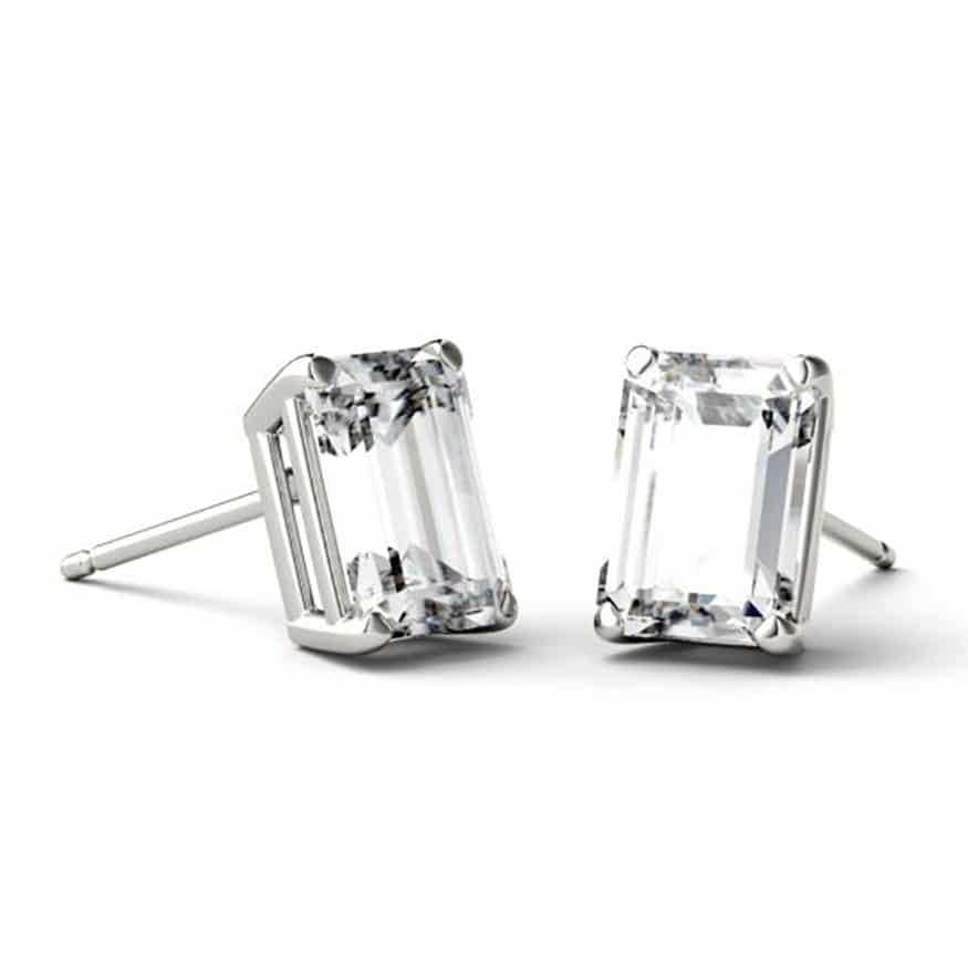 Emerald Moissanite Stud Earrings - 1.20tcw - 5.00tcw