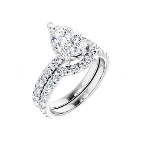 Pear Moissanite Hidden Halo Pave Engagement Ring - 2.50tcw - 4.57tcw